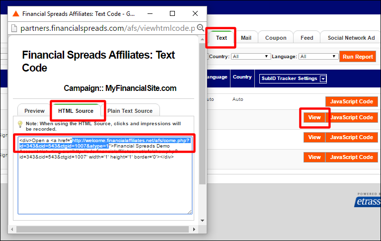 FAQ: Getting the Ad Code: Raw Text Link
